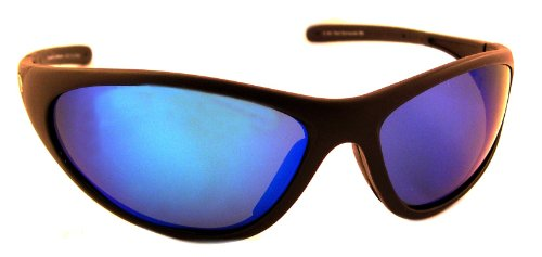 Sea Striker Bad Barracuda Polarized Sunglasses with Black Frame,Blue Mirror and Grey Lens (Fits Medium to Large Faces) ()