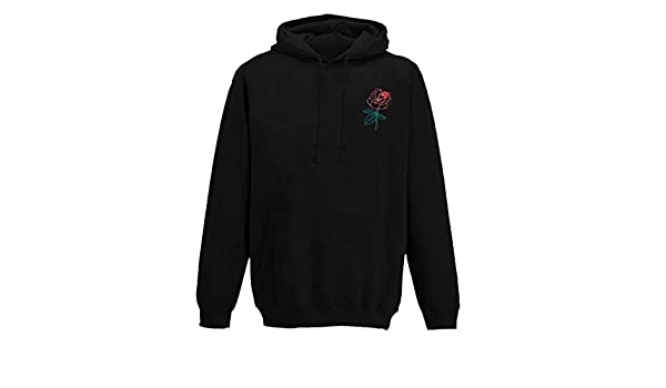 Mens Hoodies,Casual Rose Embroidery Hooded Pullover Loose Sweatshirt Outwear Blouse with Big Pocket Zulmaliu
