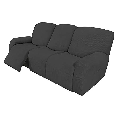 Easy-Going 8 Pieces Recliner Sofa Stretch Sofa Slipcover Sofa Cover Furniture Protector Couch Soft with Elastic Bottom…