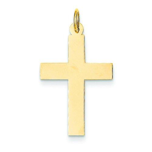 14K Yellow Gold Engraveable Cross Charm Pendant ()
