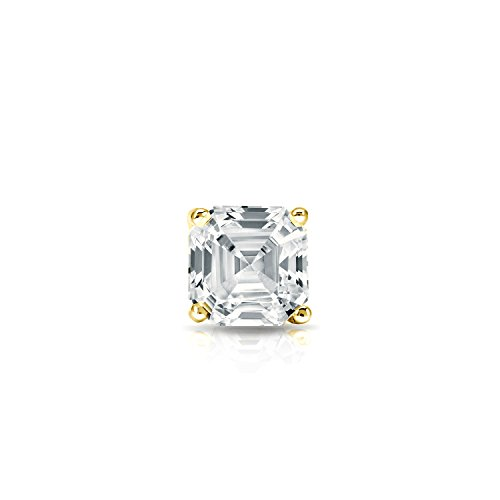 14k Yellow Gold 4-Prong Martini Asscher Diamond SINGLE STUD Earring (1/4ct,O.White,I1-I2)