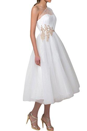 Brautbegeleiterinkleid Wadenlang Elegant Schulter Applikation Ein Tuell Damen A Aermellos Missdressy Linie xTFHvnT