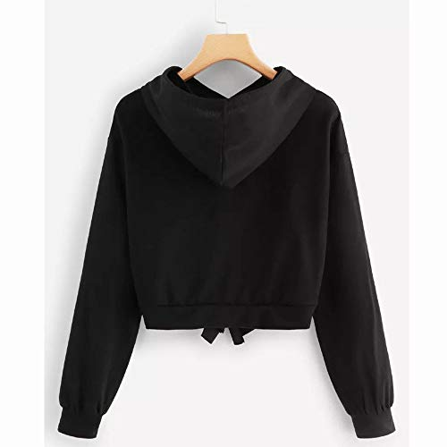 Sleeve Black Sweatshirt Morwind Long Womens Blouse Neck O Hooded Patchwork Bandage Solid 64Z7q