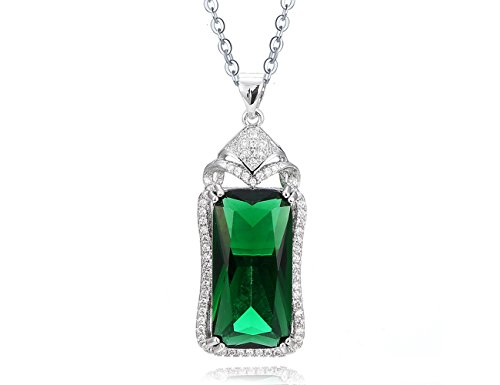 KEETEEN ♥Colorful Life♥ Sterling Silver Necklace with Princess Cut Pendant Necklace in Various Simulated Gemstones for Women(8.0ct Emerald)