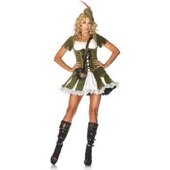 Female Robin Hood Fancy Dress (Leg Avenue Women's 3 Piece Thief Of Hearts Peasant Dress And Hat With Feather And Satchel, Green/Multi, Medium/Large)