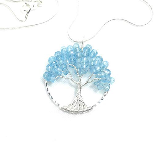 - Topaz Necklace Pendant Blue Tree of Life Gemstone Necklace Pendant November Birthstone 4th Anniversary Metaphysical Jewelry Wire Wrapped Gemstones OOAK
