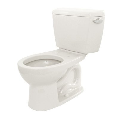 (Drake 1.6 GPF Round 2 Piece Toilet with E-Max Flush System Toilet Finish: Cotton, Trip Lever Orientation: Right-Hand)
