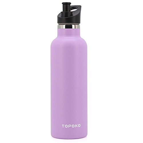 Metal Water - TOPOKO 25 oz Double Wall Stainless Steel Water Bottle, Straw Lid with Handle or Bite Valve Top, Vacuum Insulated, Sweat Proof, Leak Proof Thermos Standard Mouth. (Purple)