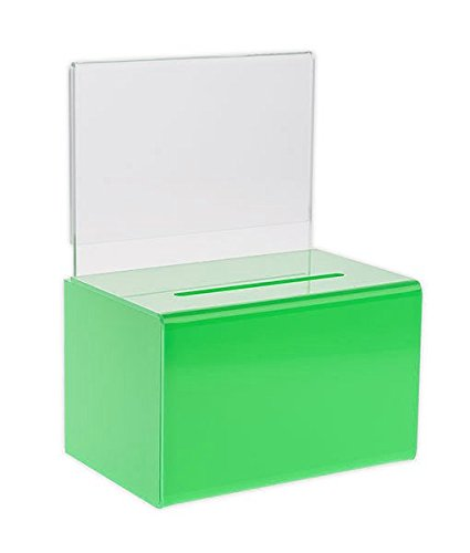 Source One Small 5-Inch Wide Deluxe Oblong Donation Box with Ad Frame & Free Lock (5 Green Boxes)