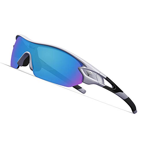 TOREGE Polarized Sports Sunglasses with 3 Interchangeable Lenes for Men Women Cycling Running Driving Fishing Golf Baseball Glasses TR02 (Sliver&Black&Ice Blue Lens)