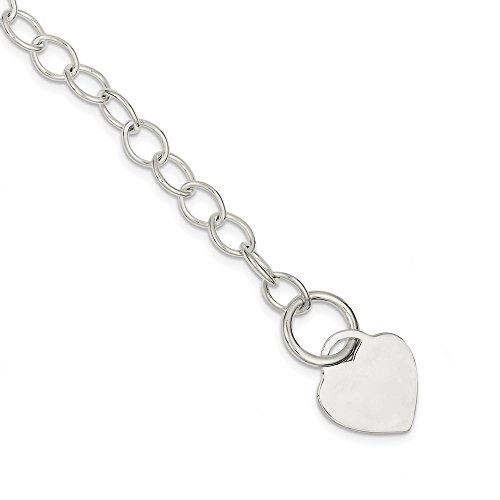 925 Sterling Silver Toggle Link Heart Bracelet 7.5 Inch Charm W/charm/love Fine Jewelry Gifts For Women For Her