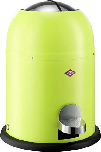 Wesco Single Master-German Designed-Small Step Trash Can, Powder Coated Steel, 2.4 Gallon / 9 L, Lime Green