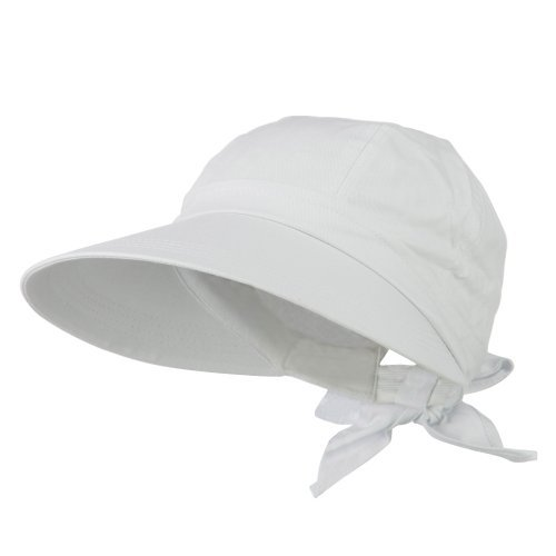 JFH Women's Classic Quintessential Sun Wide Visor Hat in Sold Bold Colors (White)]()