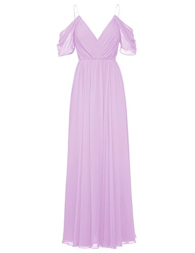 ModeC Prom Dress Evening Gown Bridesmaid Long V-Neck Chiffon Cold Shoulder Pleated Lavender US16W