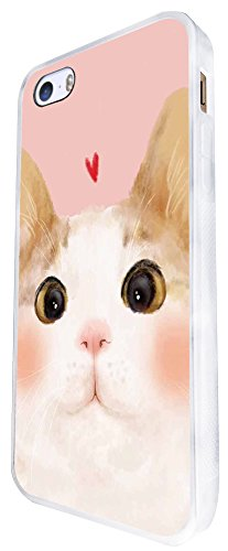 1126 - Cute Cat Face Love Heart Design iphone SE - 2016 Coque Fashion Trend Case Coque Protection Cover plastique et métal - Blanc