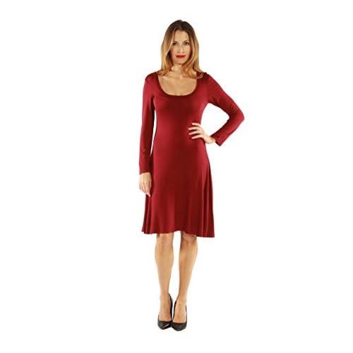 Hot 24Seven Comfort Apparel Women's Solid Color Knee Length Long-sleeve Dress hot sale