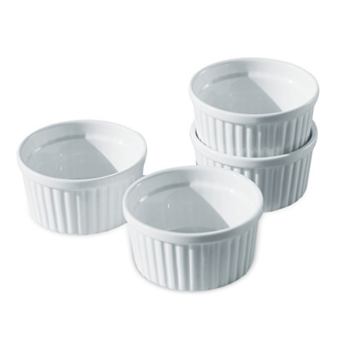 Cinf Porcelain Ramekin White 8 oz. Pudding Bowls Dishes Cup for Baking- Set of 4,Souffle Cups Dishes, Creme Brulee, Custard Cups, Desserts, Oven, Microwave, Freezer and Dishwasher Safe (Oven Porcelain Bowl In)