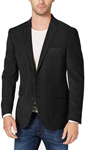Kenneth Cole REACTION Mens Faux Suede Slim Fit Sportcoat Black 44R / Kenneth Cole REACTION Mens Faux Suede Slim Fit Sportcoat Black 44R