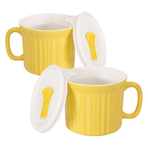 Corningware 20-Ounce Oven Safe Meal Mug with Vented Lid, Curry, Pack of 2 (With 20 Handle Soup Oz Mugs)