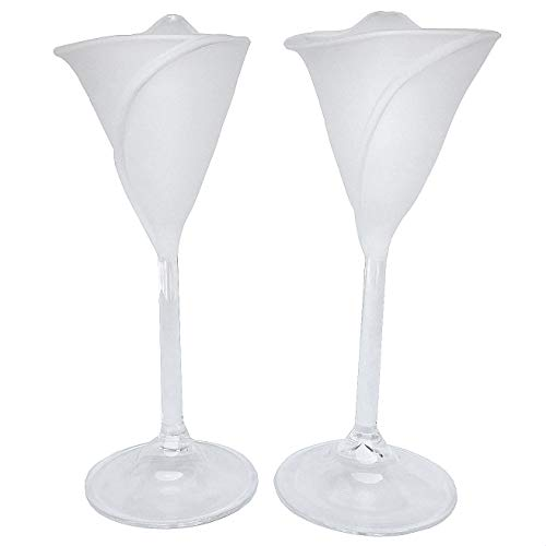 (Calla Lily Lilies Flutes Champagne Toasting Glasses Frosted )