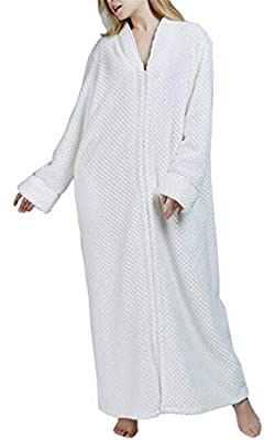 SELX Women Bathrobe Zipper Flannel Sleepwear Thick Nightgown Spa Robe
