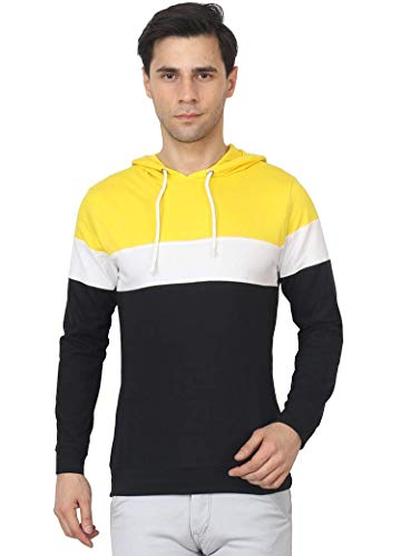 Peppyzone Men's Yellow Full Sleeve Hooded T-Shirt