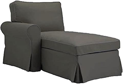 The Gray Ektorp Chaise with ARM Cover Replacement Is Custom Made For Ikea Ektorp Chaise Lounge with Arm Sofa Slipcover (ARM on (Sofa Chaise Cover)