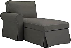 The Gray Ektorp Chaise with ARM Cover Replacement Is Custom Made For Ikea Ektorp Chaise Lounge with Arm Sofa Slipcover (ARM on Left)  sc 1 st  Amazon.com : ikea ektorp chaise lounge - Sectionals, Sofas & Couches