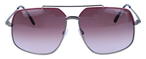 Tom Ford Ronnie Sunglasses FT0439 73T, Gunmetal/Burgundy Frame, Violet Gradient Lens, - Ford Ronnie