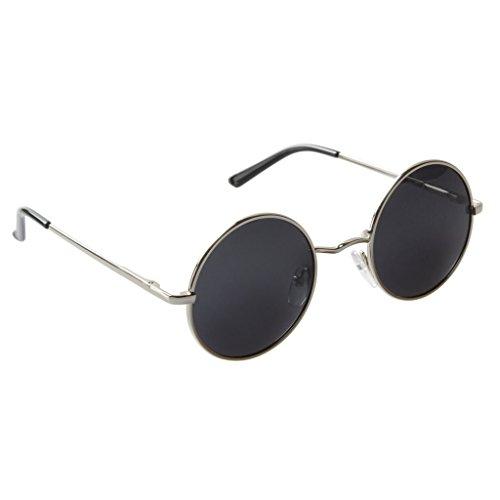 Senchoice Unisex Vintage Hippie Retro Metal Round Circle Frame Sunglasses Silver Frame Black - Circle 90s Sunglasses