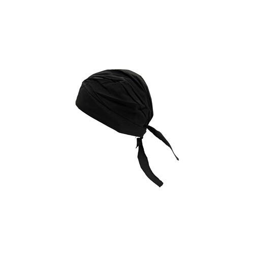 OccuNomix One Size Fits All Black Tuff Nougies Deluxe Tie Hat (Doo Rag) With Elastic Rear Band