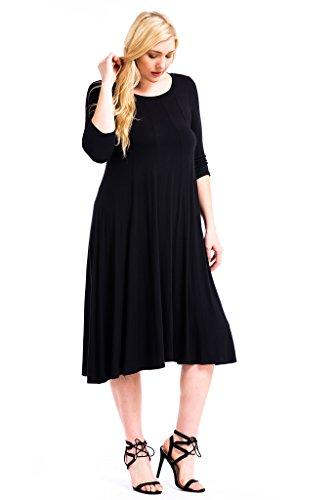 Modern Kiwi Womens Plus Size Long Sleeve Flowy Maxi Dress