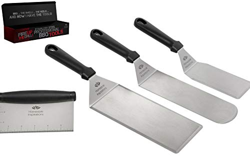 Griddle and Grill SPATULAS and Chopper, Stainless Steel. 3 Spatulas and 1 Chopper Scraper. for Griddle, Barbecue, Flat Top Cooking. Ideal for Home, Camping and Tailgating. from Homestyle Inspirations