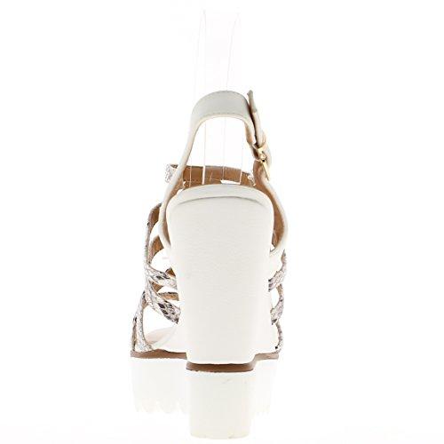 Blanco cuña sandalias de tacón de 11,5 cm y grueso blanco