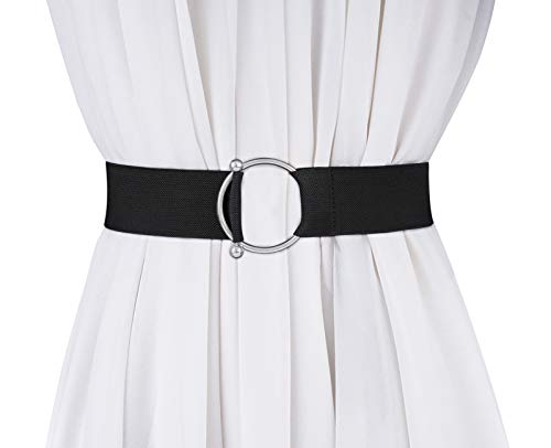 JASGOOD Women Stretchy Wide Waist Belt,O Ring Buckle Elastic Waist belt for Dress,Black,Suit for Waist Size 25-29 Inches