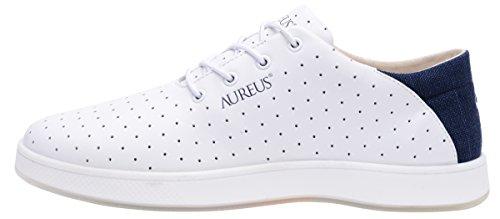 Aureus Mens Maximus Nubuck Cuir Bas Top Chaussure Blanc