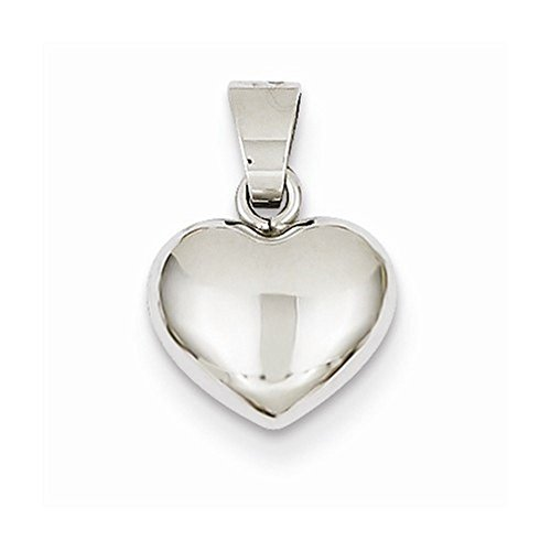 (CKL International 14k White Gold Small Puffy Heart 3D Hollow Pendant Charm)