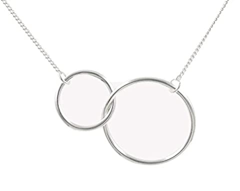 925 Sterling Silver Intrlocking Two-Circle Pendant Necklace, 16