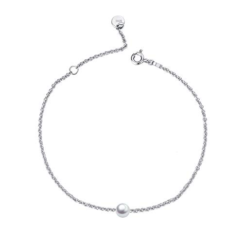 - Sterling Silver Single One Pearl Anklet Adjustable Chain Foot Anklet for Women Girls Summer Jewelry