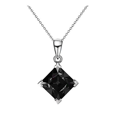 Cate & Chloe Samantha Sable Black Pendant Necklace, Womens 18k White Gold Plated Necklace with a Solitaire Black Square Cut Swarovski Crystal, Silver Drop Pendant Necklace for Women, MSRP - 119