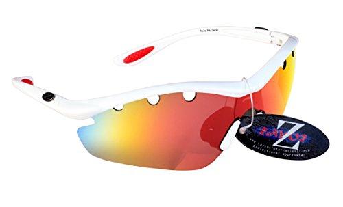 RayZor Lunettes Lunettes de soleil pour Sport Course à Pied, avec un objectif Miroir rouges aérés en iridium anti-reflets