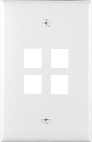 Cooper Wiring Devices 5540A-MSP 4 Port Flush Modular Wallplate, Almond