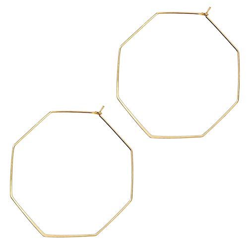 Thin Gold Hoop Earrings for Women Lightweight Earrings Dangle Hoops Dainty Octagon Hoops Stud Earrings(Gold) (Large Hoop Gold)