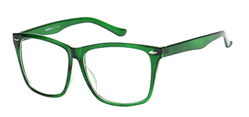 5zero1 Fake Glasses Big Frame Nerd Party Men Women Fashion Classic Retro Eyeglasses, - Green Frames Glasses