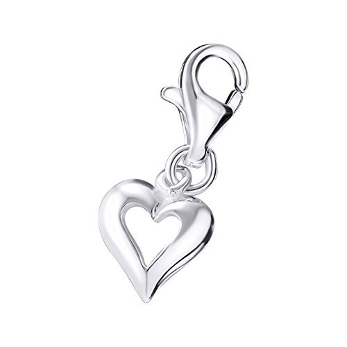 Kate Benson Small Love Heart Sterling Silver Clip on Charm by Kate Benson