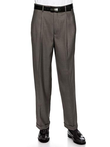 - GIOVANNI UOMO Mens Pleate Front Traditional Fit Dress Pant  Charcoal 42 Medium