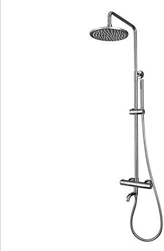 Yadianna サーモスタットレインシャワーシステム、8インチのシャワーヘッドを備えたバスルームのシャワーミキサーセット、ハンドヘルドシャワー、12インチ