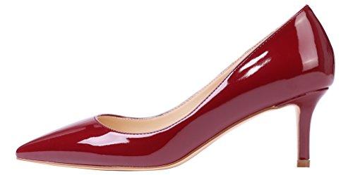 Weinrot nbsp;Schuhe Damen AOOAR Elegante Lackleder Heel Kitten Pumps qnTq8A76