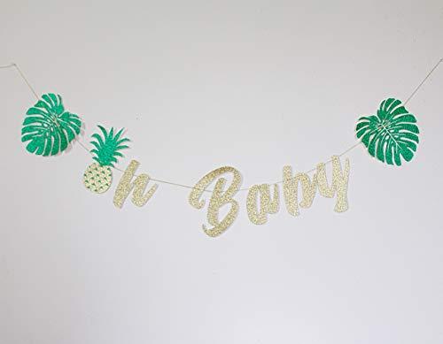 Aloha Luau Baby Shower Decorations Green Glitter Pineapple Garland for $<!--$21.99-->