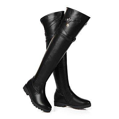 Heart&M Damen Schuhe Kunstleder Herbst Winter Reitstiefel Modische Stiefel Stiefel Niedriger Absatz Plateau Runde Zehe Oberschenkel-hohe Stiefel